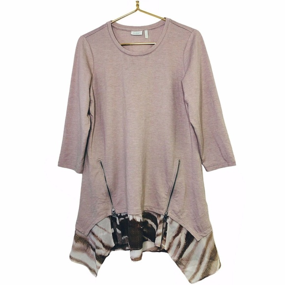 LOGO Lounge Lori Goldstein French Terry Tunic Med